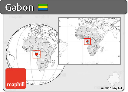 Free Blank Location Map Of Gabon Highlighted Continent Within - Gabon blank map