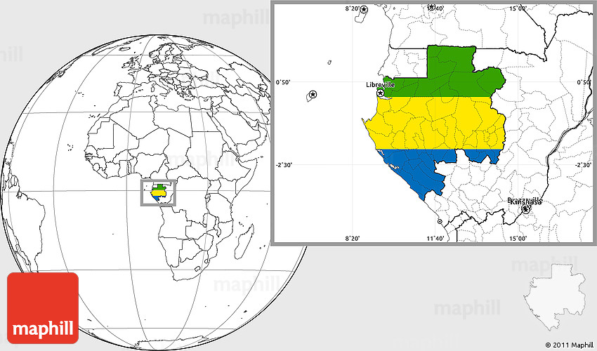 Flag Location Map Of Gabon Blank Outside - Gabon blank map