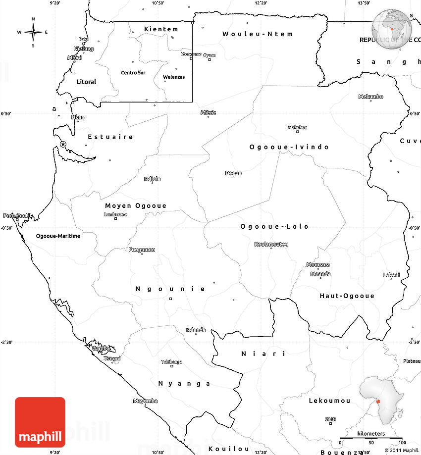 Blank Simple Map Of Gabon - Gabon blank map