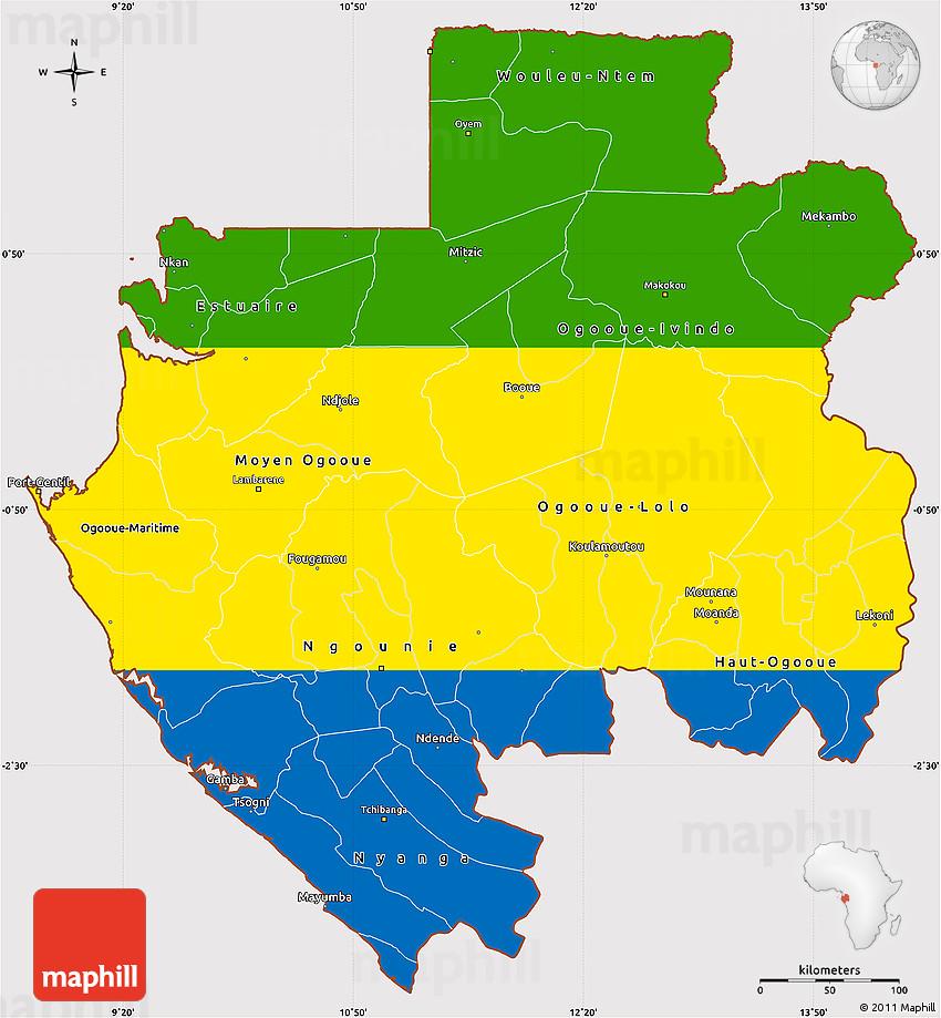 Flag Simple Map of Gabon