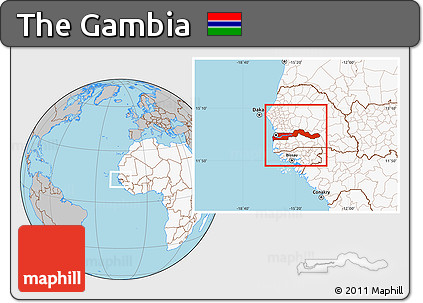 Free Gray Location Map of the Gambia highlighted continent
