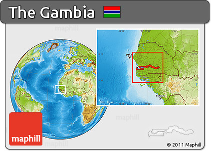 Free Physical Location Map of the Gambia