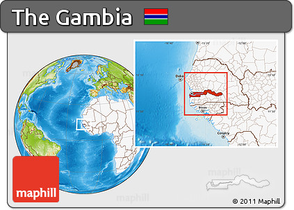 Physical Location Map of the Gambia, highlighted continent