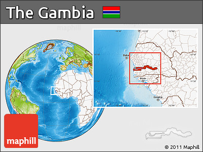 Free Physical Location Map of the Gambia highlighted continent