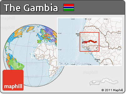 Free Political Location Map of the Gambia highlighted continent