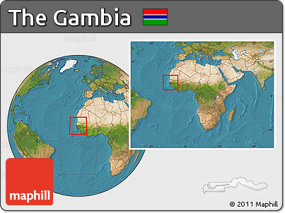 Free Satellite Location Map of the Gambia within the entire continent