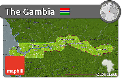 Free Physical Map of the Gambia darken