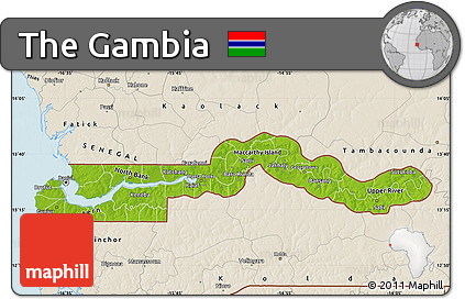 Free Physical Map of the Gambia shaded relief outside