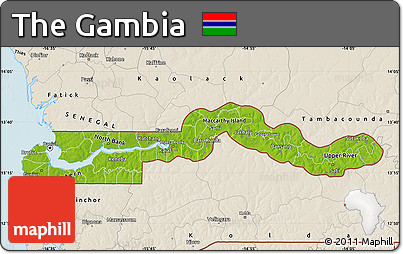 Free Physical Map Of The Gambia Shaded Relief Outside - Gambia map