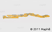Political Shades Panoramic Map of The Gambia, cropped outside