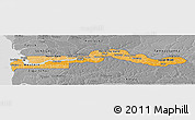 Political Shades Panoramic Map of The Gambia, desaturated