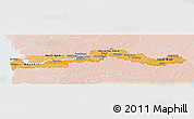 Political Shades Panoramic Map of The Gambia, lighten