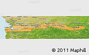 Political Shades Panoramic Map of The Gambia, satellite outside, bathymetry sea