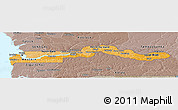 Political Shades Panoramic Map of The Gambia, semi-desaturated, land only