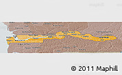 Political Shades Panoramic Map of The Gambia, semi-desaturated