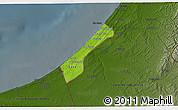 Physical 3D Map of Gaza Strip, darken