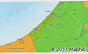 Physical 3D Map of Gaza Strip, political outside, shaded relief sea