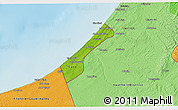 Physical 3D Map of Gaza Strip, political shades outside, shaded relief sea