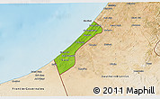 Physical 3D Map of Gaza Strip, satellite outside, shaded relief sea