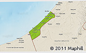 Physical 3D Map of Gaza Strip, shaded relief outside