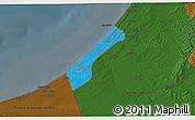 Political 3D Map of Gaza Strip, darken