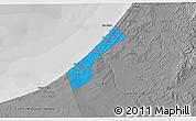 Political 3D Map of Gaza Strip, desaturated