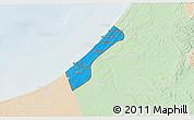 Political 3D Map of Gaza Strip, lighten
