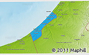 Political 3D Map of Gaza Strip, physical outside