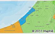 Political 3D Map of Gaza Strip, political shades outside