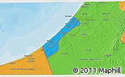 Political 3D Map of Gaza Strip