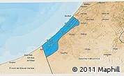 Political 3D Map of Gaza Strip, satellite outside, bathymetry sea