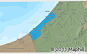 Political 3D Map of Gaza Strip, semi-desaturated, land only