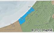 Political 3D Map of Gaza Strip, semi-desaturated