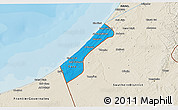 Political 3D Map of Gaza Strip, shaded relief outside, bathymetry sea