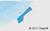 Political 3D Map of Gaza Strip, single color outside