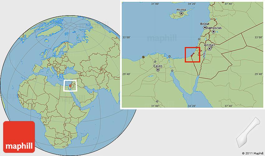 Savanna Style Location Map of Gaza Strip