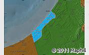 Political Map of Gaza Strip, darken
