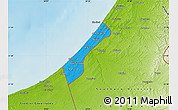 Political Map of Gaza Strip, physical outside