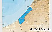 Political Map of Gaza Strip, satellite outside, bathymetry sea