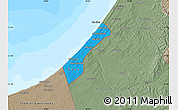 Political Map of Gaza Strip, semi-desaturated, land only