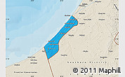 Political Map of Gaza Strip, shaded relief outside, bathymetry sea