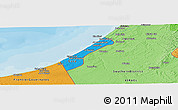 Political Shades Panoramic Map of Gaza Strip