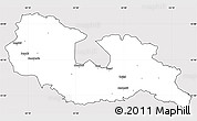 Silver Style Simple Map of Georgia Territories, cropped outside