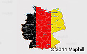 Flag 3D Map of Germany, flag aligned to the middle