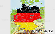 Flag 3D Map of Germany, physical outside