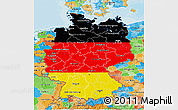 Flag 3D Map of Germany, political outside