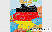 Flag 3D Map of Germany, political shades outside