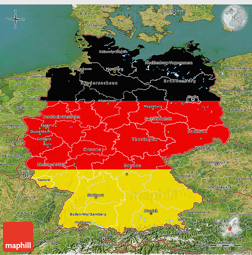 Map Of Germany 3d.Flag 3d Map Of Germany Satellite Outside