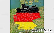 Flag 3D Map of Germany, satellite outside