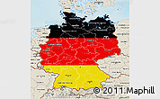 Flag 3D Map of Germany, shaded relief outside